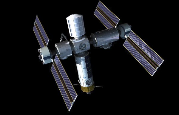 صورة فنية لمحطة الفضاء التجارية. تخطط شركة الفضاء التجارية الناشئة لبناء أول محطةِ فضاءٍ تجارية خاصة. حقوق الصورة: Axiom Space