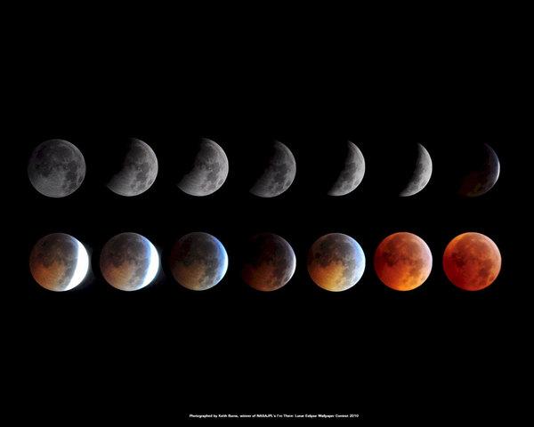تم التقاط هذه الصور الممنتجة في صورة واحدة من قبل الراصد كيث بيرنز Kieth Burns، وهي تظهر الخسوف الكلي الذي حصل في 20 كانون الأول/ ديسمبر عام 2010. وقد فازت في مسابقة أقامتها ناسا لتصبح هذه الصور الصورة الرئيسية الرسمية لمختبر الدفع النفاث التابع لناسا. المصدر: ناسا/ مختبر الدفع النفاث -كيث بيرنز NASA/JPL-via Kieth Burns.
