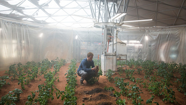 """مشهد من فيلم """"المريخي""""، حيث يقوم فيه رائد الفضاء ويتني بحصاد بعض المحاصيل على المريخ.المصدر: بيتر ماونتن"""