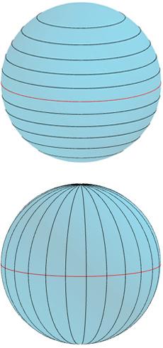 خطوط العرض (في الأعلى)، وخطوط الطول (في الأسفل).