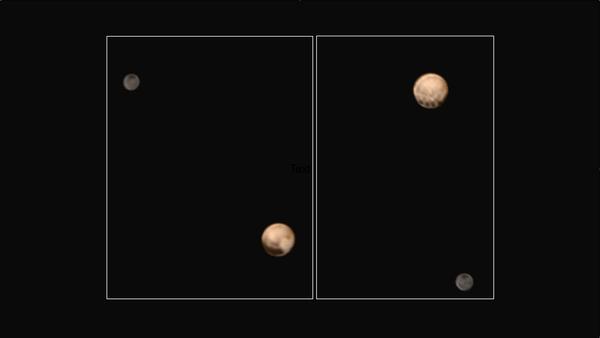 صور ملوَنة من نيو هورايزنز، تبينُ وجهان مختلفان للكوكب القزم (dwarf planet) بلوتو، حيثُ تُظهرُ الأولى سلسلة من البقع المثيرة للاهتمام على طول خط استواء الكوكب، يفصلها عن بعضها مسافات متساوية.