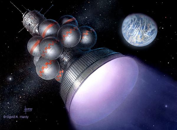 يبين ديفيد هاردي David Hardy في هذه الصورة رسماً توضيحياً لمشروع ديدالوس من قبل جمعية الكواكب البريطانية :حيث تبين مركبةً فضائية للسفر لأقرب النجوم . حقوق الصورة : ديفيد هاردي