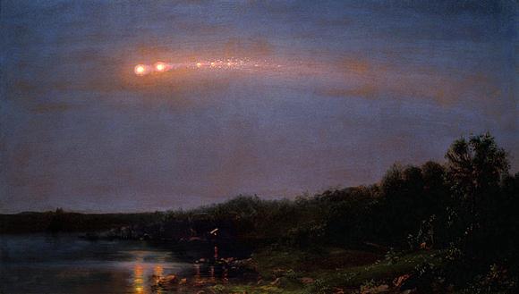 لوحة تعود لعام 1860 رسمها فريدريك إيدوين Frederic Edwin، وهي تظهر الشهب العابرة earthgrazer fireball.  المصدر: Wikimedia Commons
