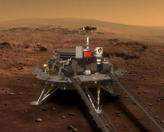 صورة فنية لمركبةزورونج الصينية الجوالة على سطح المريخ. حقوق الصورة:CNSA