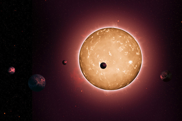 تكون النظام Kepler-444 عندما كانت مجرة درب التبانة يافعة حيث كان عمرها ملياري سنة. اكتُشِفت الكواكب بسبب الخفوت الذي يحدث عندما تعبر قرصَ نجمها الأصلي، كما يظهر هنا في هذا الرسم التخيلي. المصدر: ناسا