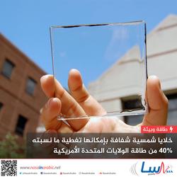 خلايا شمسية شفافة بإمكانها تغطية ما نسبته 40% من طاقة الولايات المتحدة الأمريكية