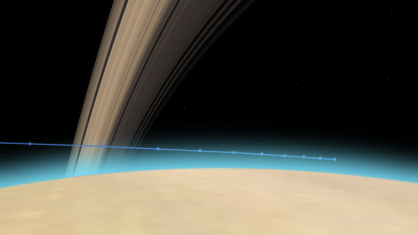 مسار كاسيني عبر الغلاف الجوي العلوي لزحل، الزمن الفاصل بين كل نقطة هو 10 ثوانٍ. حقوق الصورة: NASA/JPL-Caltech.