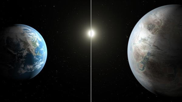 يُقدم لنا هذا التصوّر الفني مقارنة بين الأرض (إلى اليسار) بالكوكب المُكتشف حديثاً المسمّى كبلر-452-بي. قُطر هذا الكوكب أكبر من قُطر الأرض بحوالي 60%.  حقوق الصورة: ناسا/مُختبر الدفع النفاث، ومعهد كاليفورنيا للتكنولوجيا/ تي. بايل Credits: NASA/JPL-Caltech/T. Pyle