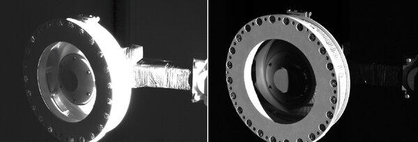 تُظهر هذه الصور رأس ذراع جمع العينات (TAGSAM) الممتدة من المركبة الفضائية. التقطت كاميرا سامكام الخاصة بالمركبة هذه الصور في 14 نوفمبر/تشرين الثاني 2018 كجزءٍ من الفحص البصري لنظام TAGSAM، الذي طورته شركة لوكهيد مارتن سبيس لجمع عينةٍ من سطح الكويكبات في بيئةٍ منخفضة الجاذبية. كان التصوير بمثابة بروفة لسلسلة من عمليات الرصد التي ستُلتقط مباشرةً بعد جمع العينات. حقوق الصورة: NASA/Goddard/University of Arizona