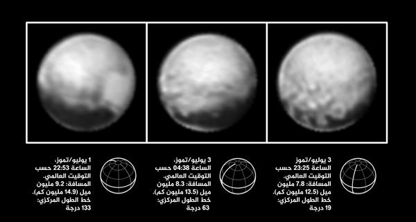 الصور الثلاث في الفترة ما بين الأول والثالث من يوليو/تموز من عام 2015