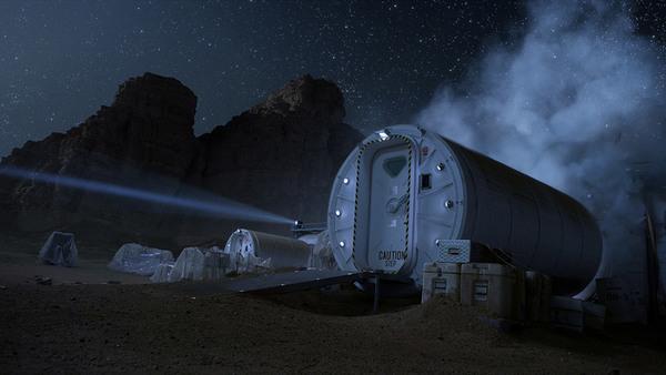 يعد المسكن الصناعي (ذا هاب) ركناً أساسياً لتسهيل استكشاف البشر للمريخ في فيلم المريخي.<br>شركة فوكس السينمائية.