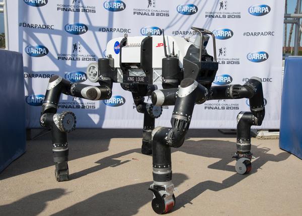 مظهر روبوسيميان الطويل كان فريدًا إلى حد ما بين التنافسين في نهائي الروبوتات، حيث معظمهم ذوي قدمين حقوق الصورة: JPL_معهد كاليفورنيا للتكنولوجيا (Caltech)