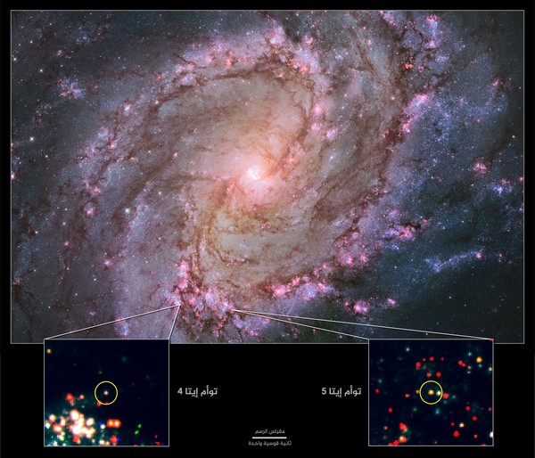 المجرة اللولبية القريبة M83 هي حالياً المجرة الوحيدة المعروفة التي تستضيف اثنين من التوائم المحتملة لإيتا كارينا. تبين هذه الصور المُركّبة والمأخوذة بواسطة كاميرا تلسكوب هابل واسعة النطاق 3 مجرةً ملتهبة مع نجوم تشكلت حديثاً. إن ارتفاع معدل تكوين النجوم يزيد من فرص العثور على النجوم الضخمة التي اجتازت مؤخراً انفجاراً شبيهاً بإيتا كارينا. الصور في الأسفل: صورة مكبرة لبيانات هابل تظهر موقع توائم إيتا في M83. المصدر: ناسا ووكالة الفضاء الأوروبية، وفريق أرشيف هابل (STScI/AURA) و أر. خان (GSFC and ORAU