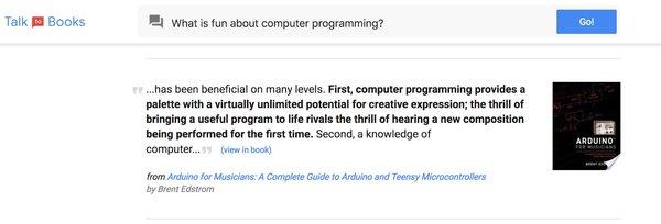 """ما هو الممتع في برمجة الحواسيب؟ """"... كانت مفيدة على عدة مستويات، أولًا، تقدم برمجة الحواسيب منصة ذات قدرات غير محدودة تقريباً للتعبير الإبداعي، حيث أن متعة بحث الحياة في برنامج مفيد تماثل متعة سماع مؤلَّف موسيقي يُعزَف للمرة الأولى. ثانيًا، معرفة برمجة الحواسيب..."""" (رؤية الكتاب). من كتاب أردوينو للموسيقيين: الدليل الشامل حول الأردوينو والمتحكمات المكروية الصغيرة جدًا (Arduino for Musicians: A Complete Guide to Arduino and Teensy Microcontrollers). للكاتب برينت إيدستروم Brent Edstrom.  حقوق الصورة: غوغل Google."""