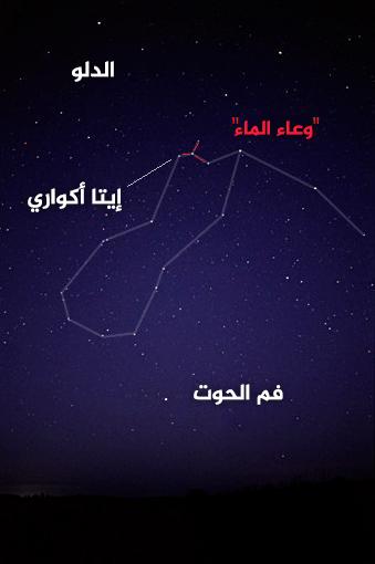 مجموعةٌ نجميةٌ بشكل حرف Y تسمى وعاء الماء، وهي تحدد النقطة المشعة لهطول شهب الدلو، وهي واضحةٌ جداً في السماء المظلمة.