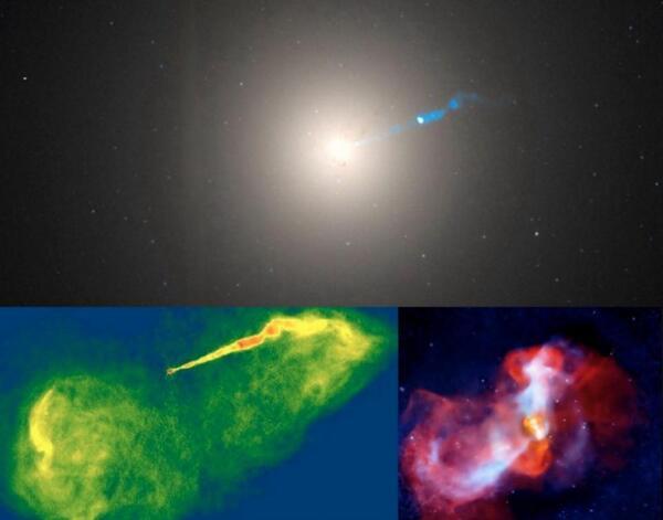 يظهر ثاني أكبر ثقب أسود كما يُرى من الأرض، وهو الثقب الموجود في مركز المجرة M87، في ثلاث مناظر هنا. في الأعلى صورة بصرية من تلسكوب هابل، وفي أسفل اليسار صورة راديوية من مرصد NRAO، وفي أسفل اليمين صورة أشعة سينية من تلسكوب شاندرا. هذه المناظر المختلفة لها دقة مختلفة تعتمد على الحساسية الضوئية وطول موجة الضوء المستخدم وحجم مرايا التلسكوب المستخدمة لرصدها. هذه كلها أمثلة للإشعاع المنبعث من المناطق المحيطة بالثقوب السوداء، مما يدل على أن الثقوب السوداء ليست سوداء للغاية على كل حال. حقوق الصورة: Top, optical, Hubble Space Telescope / NASA / Wikisky; lower left, radio, NRAO / Very Large Array (VLA); lower right, X-ray, NASA / Chandra X-ray telescope