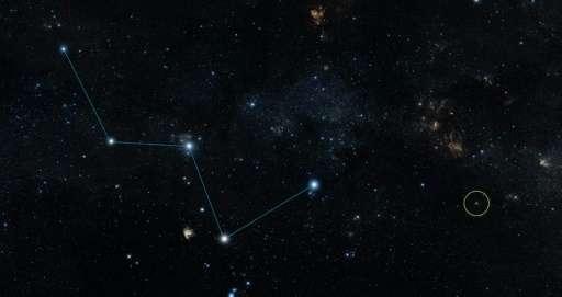 """تصور فني لوكالة ناسا في 30 يوليو/آب 2015 ويظهر خريطة للسماء مع موقع """"HD 219134 """" (الدائرة)، المضيف لأقرب كوكب صخري تم تأكيد وجوده خارج نظامنا الشمسي"""
