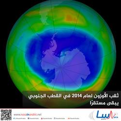 ثقب الأوزون لعام 2014 في القطب الجنوبي يبقى مستقرًا