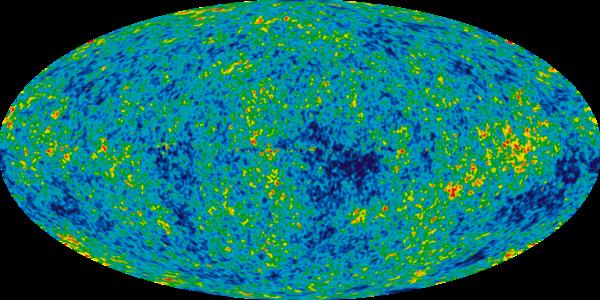 تقلبات درجة الحرارة في إشعاع الخلفية الكونية الميكروي من بيانات Wilkinson Microwave Anisotropy Probe، حقوق الصورة: NASA.