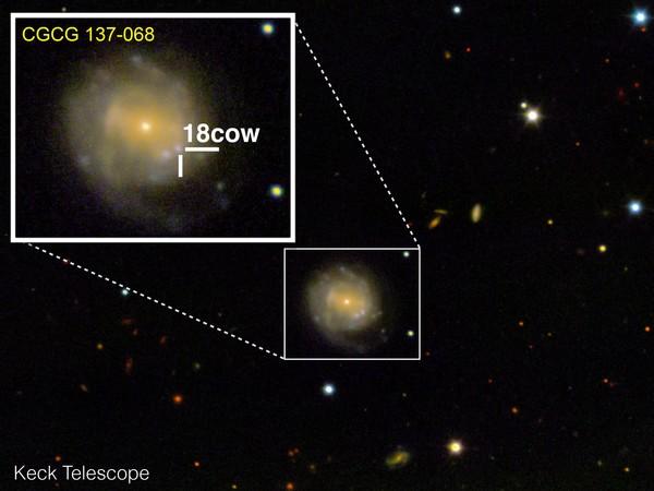 cألتقطت هذه صورة من AT2018ow ومجموعتها المضيفة في 17 آب\أغسطس 2018 باستخدام أداة التصوير العميق والطيف متعدد الأجسام في مرصد كيك. حقوق الصورة: R. Margutti/W.M. Keck Observatory