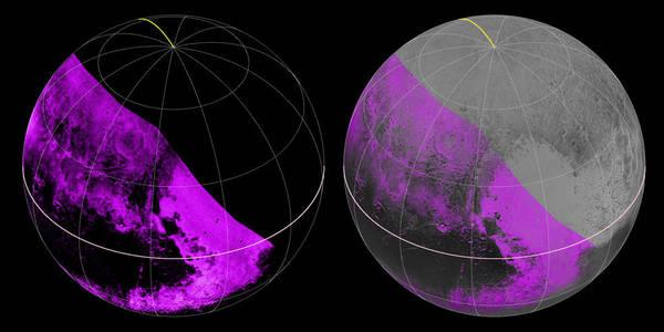 استطاعت أداة رالف ومقياس طيف الأشعة ما تحت الحمراء المعروف اختصاراً بـ LEISA ،والموجودتان على متن مركبة نيوهورايزنز، وضع خريطة للتراكيب على سطح بلوتو وذلك أثناء تحليقها فوقه بتاريخ 14 يوليو/تموز.   إلى اليسار، نرى خريطة لأماكن توافر جليد الميثان، ما يُظهر الاختلافات الإقليمية الجلية. وتُشير الألوان الأرجوانية الساطعة إلى المناطق ذات الامتصاص الأقوى للميثان، بينما يُشير اللون الأسود إلى المناطق الفقيرة بهذا الغاز.   البيانات الوحيدة التي وصلتنا هي تلك التي تم جمعها عن الجهة اليسرى من قرص بلوتو، وإلى اليمين، تم دمج خريطة الميثان مع صور عالية الدقة مأخوذة من جهاز المصور الاستكشافي واسع المجال LORRI المصدرNASA/JHUAPL/SWRI
