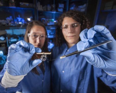 الباحثة هيذر إينرايت Heather Enright من مختبر لورانس ليفرمور الوطني على اليسار، وآنا بيل Anna Belle تحمل جهاز دماغ على رقاقة وصفافات إلكترودات صغيرة. حقوق الصورة محفوظة لـ Lawrence Livermore National Laboratory