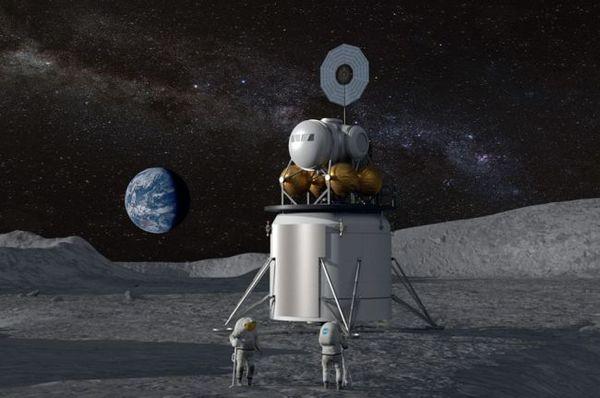 تصور فني عن هبوط مستقبلي على القمر منجز من قبل برنامج أرتميس التابع لناسا. تعمل وكالة الفضاء على إعادة رواد فضاء (بمن فيهم المرأة الأولى) إلى سطح القمر في آفاق 2024 كما أمر البيت الأبيض. (المصدر: ناسا)