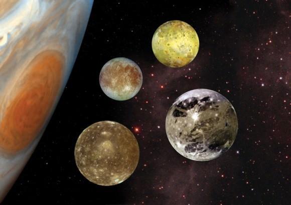 (تصوّر فنّيّ للمشتري وأقماره الجاليلية. حقوق الصورة: NASA)