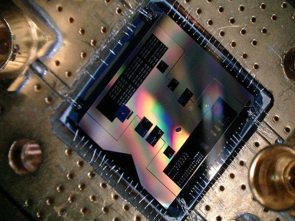 تسمح هذه الرقاقة الكمومية (1×1 سم) للباحثين بالاستماع إلى أضعف إشارة راديو تسمح بها ميكانيكا الكم. الحقوق: TU Delft