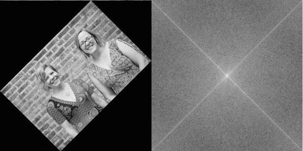 صورة المحررين بعد تدويرها بزاوية 45 درجة، وتحويل فورييه المرافق لها.