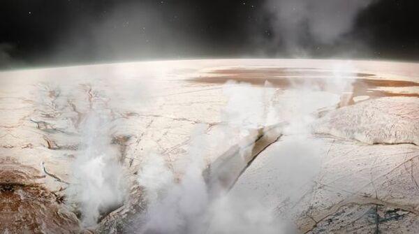 صورة فنية لأعمدة المياه النابعة من المحيط الجليدي لقمر المشتري أوروبا.  حقوق الصورة: NASA's Conceptual Image Lab - Michael Lentz (USRA), Walt Feimer (KBRwyle), Bailee DesRocher (USRA) & NASA's Jet Propulsion Laboratory