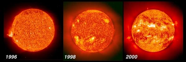 مقارنة بين ثلاث صور التقطت خلال أربع سنوات توضح كيف ارتفع النشاط الشمسي من الحد الأدنى تقريباً إلى ما يقارب الحد الأقصى في دورة الشمس ذات الأحد عشر عاماً. المصدر: SOHO/ESA/NASA