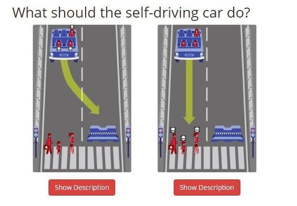 من سأنقذ؟ محاكاة لمعضلة سيّارة ذاتيّة القيادة.