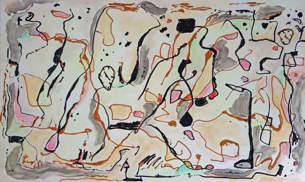 بدون عنوان 2، يناير/كانون الثاني 2015، لوحة بالأكريليك والألوان الزيتية بأبعاد 30×60، وهي جزء من سلسة أعمال فنية حديثة لبلبرونو. قد يتوه مشاهدو هذه اللوحة في مشهد من المنحنيات والأشكال، والتي تُبين جانباً آخر من الواقع، لا يكون واضحاً بالعادة لأحاسيسنا. المصدر: إدوارد بلبرونو