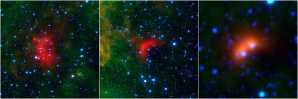 """يعتقد العلماء أن ما يسمى بالـ """" أمواج الصدمة القوسية"""" هي عبارة عن معالم خاصة تميز مسار النجوم السريعة فائقة الكتلة، وذلك كما هو مبين في الصور التي التقطها كل من تلسكوب سبيتزر الفضائي، والمستكشف الاستقصائي واسع الحقل العامل بالأشعة تحت الحمراء.  المصدر: NASA/JPL-Caltech/University of Wyoming"""