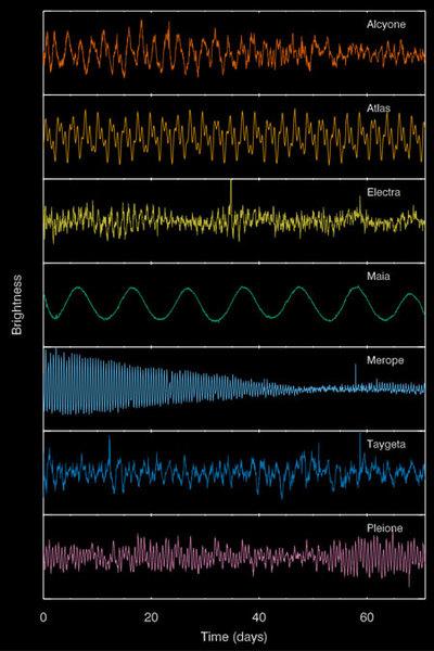 تكشف تقلبات السطوع الفريدة لكل نجم أدلة حول خصائصه الفيزيائية مثل حجمه ومُعدِّل الدوران، حيث إن معظم النجوم الساطعة في الثريا هي نوع من النجوم المتغيرة من النوع ب النابض ببطء (slowly-pulsating B star)، ولكن مايا مختلف، فهو يظهر دليلاً على وجود بقعة كيميائية كبيرة تعبر سطحه، حيث يدور النجم لفترة عشرة أيام. حقوق الصورة: Aarhus University / T. White.