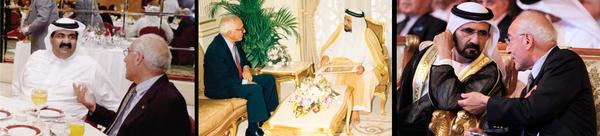 مع الشيخ حمد بن خليفة آل ثاني، أمير قطر (يسار)، الشيخ الدكتور سلطان القاسمي، حاكم الشارقة، الإمارات العربية المتحدة (الوسط)، والشيخ محمد بن راشد آل مكتوم، نائب رئيس الدولة ورئيس مجلس الوزراء حاكم دبي (يمين).