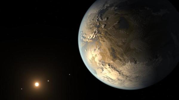يقدّم هذا التصوّر الفني لتيم بايل تصورًا لكبلر-186 إف (Kepler-186f) وهو أول كوكب اعتُرِف رسميًا بأن له حجم الأرض ويدور حول نجمٍ ناءٍ في المنطقة الصالحة للسكن، وهو مدى البعد عن النجم الذي يمكن للمياه السائلة أن تتجمع على سطح الكوكب ضمنه. Credits: NASA/Ames/SETI Institute/JPL-Caltech