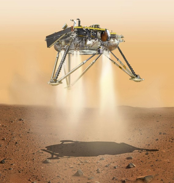 صورة فنية تُظهر مركبة إنسايت التابعة لناسا أثناء هبوطها على سطح المريخ. سيجري الهبوط في 26 نوفمبر/تشرين الثاني 2018. حقوق الصورة: NASA/JPL-Caltech