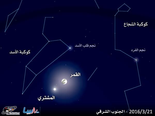 اقترن القمر مع كوكب المشتري