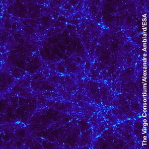 محاكاة لتوزيع المادة المظلمة بعد ما يقارب الـ 3 مليار سنة من الانفجار العظيم (الصورة ليست من هذا العمل).   المصدر: The Virgo Consortium/Alexandre Amblard/ESA.
