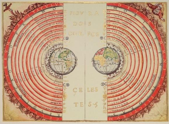صورة توضيحية للنظام البطليمي لمركزية الأرض، رسمها الكوزموغرافي وراسم الخرائط البرتغالي بارتولوميو فيلهو Bartolomeu Velho عام 1568. ملكية الصورة: المكتبة الوطنية، باريس