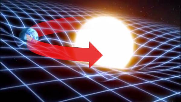 تدور الأرض حول الشمس بسبب انحناء الزمكان. المصدر: قناة WGBH، بوسطن.