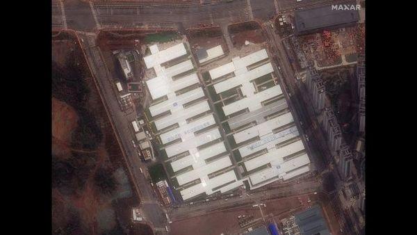 لقطة عن قرب للمستشفى عند استكمال بنائه، في 4 مارس/آذار 2020.