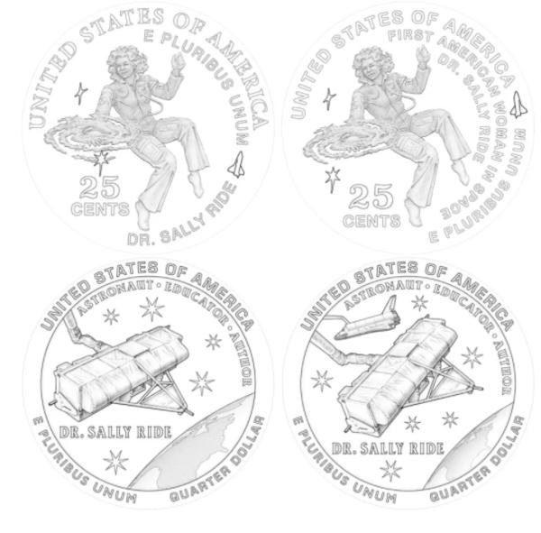 التصميم البديل المُقترح من دار صك العملة الأمريكية لربع دولار النساء الأمريكيات لسنة 2022 تخليداً لذكرى سالي رايد. (حقوق الصورة: United States Mint via collectSPACE.com)