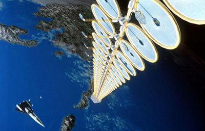 يمكن لقمرٍ صناعيٍّ شمسيٍّ كهذا أن يتلقى طاقة شمسية أكثر بثمانية أضعاف من مثيله على الأرض. حقوق الصورة: NASA
