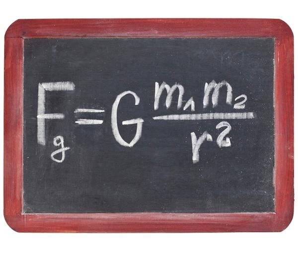 المعادلة التي صاغها السير إسحاق نيوتن: تتزايد قوة الجاذبية بتزايد كتل الأجسام وتغدو أضعف عند ازدياد المسافة بين الجسمين