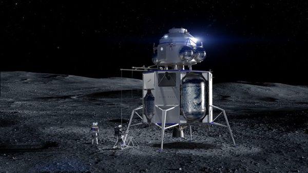 صورة فنية لمركبة بلو موون على سطح القمر. حقوق الصورة: بلو أورجين