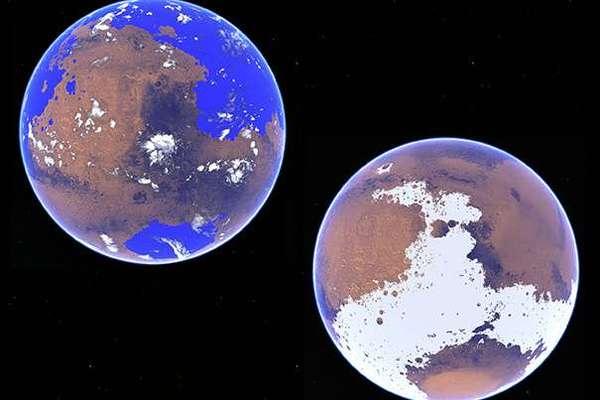 استخدم روبن ووردسورث، الأستاذ المساعد في العلوم والهندسة البيئية في كلية هارفارد جون أ. بولسون للهندسة والعلوم التطبيقية، وزملاؤه نموذجَ دوران للغلاف الجوي لمقارنة دورة الماء على المريخ في إطار سيناريوهات مختلفة تعود لـ 3-4 مليارات سنة. الصورة اليسرى تظهر المريخ على أنه كوكب دافئ رطب، وذو حرارة بمقدار 10 درجات مئوية (50 فهرنهايتًا)، واليمنى تظهر المريخ كوكبًا باردًا جليديًّا، بدرجة حرارة تصل إلى 48 درجة مئوية تحت الصفر (54- فهرنهايتًا).