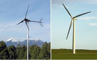 صورة مجاملة، المخبر الوطني للطاقة المتجددة (على اليسار) و stock.xchng عنفة هوائية للاستعمال المنزلي (على اليسار)، وعنفة هوائية للاستخدام المرفقي.